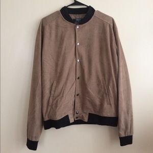 Other - Men's Tan Faux Suede Bomber